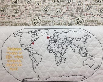 World Map Distance Means So Little Embroidery Design