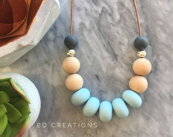 The Bonnie Adult Necklace | Duck Egg Blue & Charcoal Grey