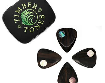 Planet Tones - Ebony Guitar Picks / Plectrums with Shell Inlay - Packed in a Gift Tin