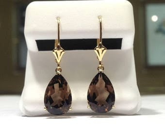 5.00 Carat Chocolate Topaz Dangle Lever Back Earrings in 14K Yellow Gold