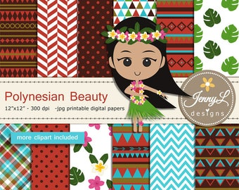 Polynesian Tribal digital papers and clipart SET,  Hawaiian Party, Luau Dancers for Digital Scrapbooking,invitations, planner