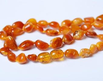 Necklace, Natural Genuine Baltic amber beads, beaded necklace 17 inch (DZ3)