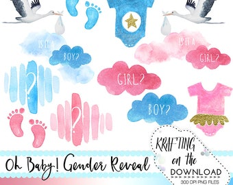 gender reveal clipart set watercolor gender reveal clip art gender reveal png watercolor gender reveal party png clipart files