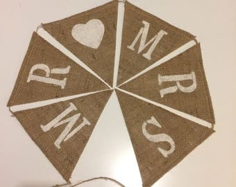 Mr. loves Mrs. Feauturing painted heart. Burlap wedding banner, barn decor