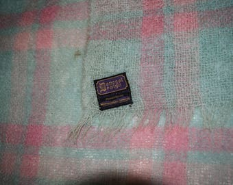 Donegal Design Mohair & Wool Teal and Salmon Woven Throw Blanket Made in Ireland FREE SHIPPING