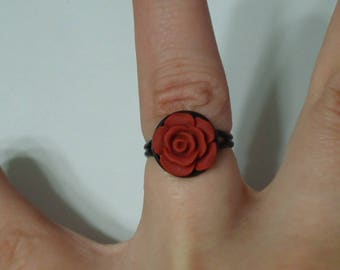 Adjustable Rose Ring, Rose Jewelry, Rose Ring, Flower Ring, Flower Jewelry, Floral Jewelry, Floral Ring, Teen Ring, Teen Jewelry, Red Rose