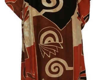 Plus Size Boho Ethnic Abstract Hem Print One Size Batwing Sleeved Kaftan Maxi Dress Rust Size 16 - 32
