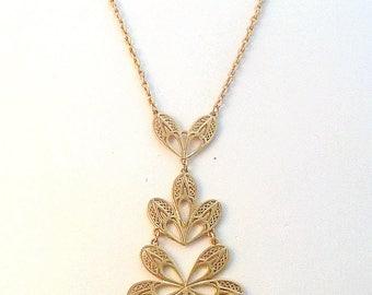 Vintage Floral Design Statement Tiered Dropper 70's Necklace.