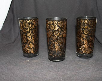 Georges Briard Signed Black and Gold Tumblers /Drinking Glasses