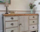 Antique Victorian Solid Pine Painted Grey Dresser Sideboard Server Freestanding Kitchen Cabinet Unit