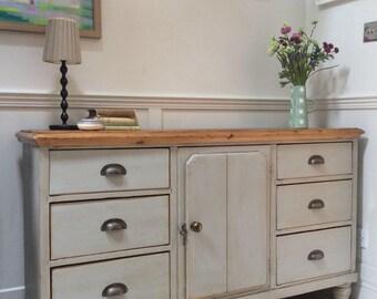 Antique Victorian Solid Pine Painted Grey Dresser Sideboard Server Freestanding Kitchen Cabinet Unit