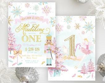 Nutcracker Girl's 1st Birthday Party Invitation - Sugar Plum Fairy Princess, Land of Sweets, Winter First, Any Age Birthday Invite, Madeline