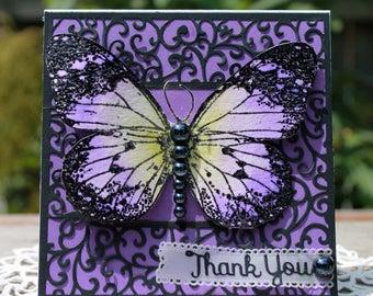 Thank you! handmade card, OOAK card, Large Purple Butterfly Card,