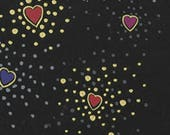 Basic Hearts, Red, Purple and Gold on Black, by Laurel Burch for Clothworks