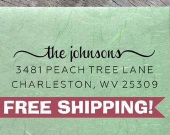 Custom Return Address Stamp, Johnsons Stamp, ECO-FRIENDLY Self-Inking Address Stamps, Housewarming Gift