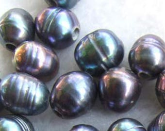 Large hole 10-12mm iridescent blue keishi Pearl