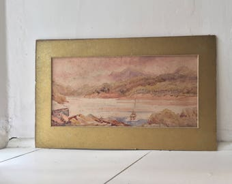 Antique Scottish Loch Watercolour 1875