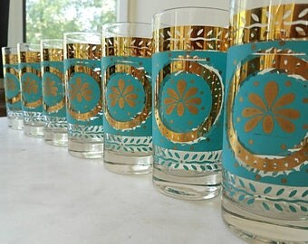 7 Mid Century Glasses, Vintage, Gold, Georges Briard, Turquoise, Culver, Fred Press