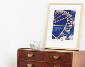 Print, poster, artprint, art, 30x40, cheap print, cheap poster, sky, ferris wheel, big wheel, colorful poster, cotton candy, fair, hamburg