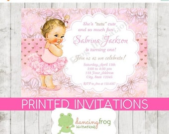 SALE Vintage Baby Girl Tutu Birthday Invitations - You choose hair/skin color - Girl Tutu Birthday Invitation - .99 each with envelope