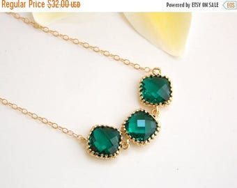 SALE Wedding Jewelry, Emerald Necklace, Dark Green, Depp Green, Gold Filled, Bridesmaid Gifts, Bridesmaids Pendant, Gifts, Bridesmaids Jewel