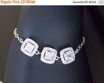 SALE Wedding Jewelry, Clear Bracelet, Crystal, Cubic Zirconia, Sterling Silver Bracelet,Bridesmaid Jewelry,Brides Gifts, Bridesmaids Gifts,