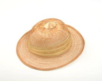 Safari hat, vintage rattan woven hat, paddy rice hat, jungle hat, explorer hat, rattan hat, vintage rattan hat, safari hat, colonial hat