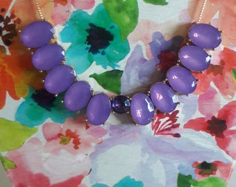 Purple oval necklace