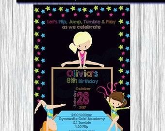 50%Off Gymnastic Invitation Girl, Gymnastic Invitation, Birthday Invitation Girl, Gymnastic Invite, Gymnastic Party, chalkboard, Gymnastic G