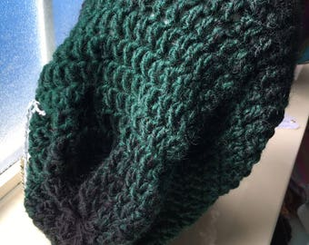 Slouchy green and black ombre scarfie hat