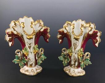 OLD PARIS PORCELAIN Mantle Vases Green Wine Gold Gilt Gorgeous! Circa 1860