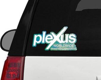 "Plexus Worldwide Window Decal Custom New Slim Green Blue Print Outline 11.5"" x 6.1"" (Glossy)"