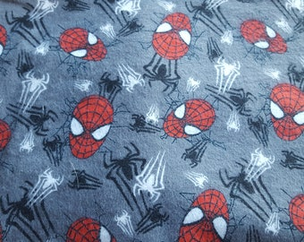 Spiderman Flannel Fabric Amazing Spiderman Character Fabric Gray Flannel RARE Out of Print