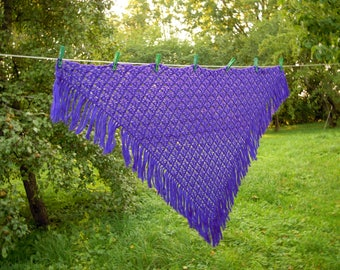 Purple shawl Winter shawl Purple scarf Crochet triangle shawl Handmade gifts Lace shawl crocheted Lace pattern Gift for her Ready to ship