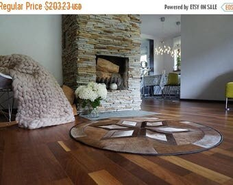 on sale beautiful round cow hide cowhide rug brown black white calf skin leather rare