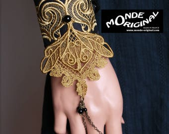 Victorian black gold silk and lace glove Cuff Bracelet