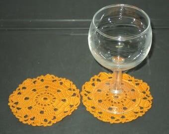 SET of 6 DOILIES or coasters handmade crochet Orange