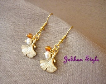 "Earrings Golden ""Ginko"" with yellow jade"
