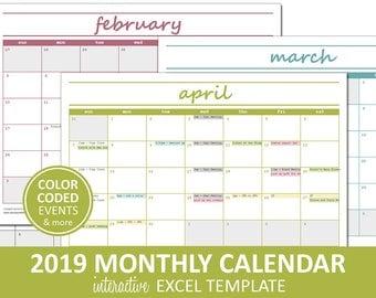 Elegant Monthly Calendar - 2019 - Printable | Excel Calendar Template | Monthly Calendar Printable | Instant Digital Download