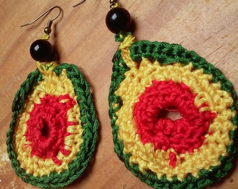 crochet cotton realosees earrings red yellow and green