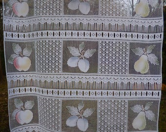 """Pair of Vintage French Colour  Net Curtains -  Fruit  (Apples, Plums, Pears) 26""""  x 60""""  86 x 153 cm"""