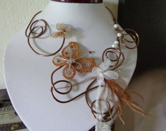 Brown Butterfly White Pearl wedding necklace