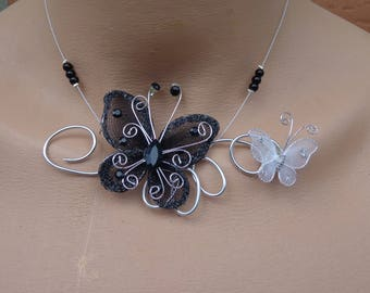 black and white wire Butterfly Necklace hypoallergenic available on wedding