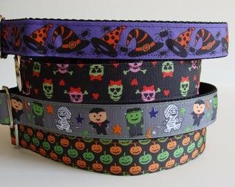 READY TO SHIP! Halloween Dog Collars - Witch Hat, Skulls, Monster Bash, Pumpkins -Medium