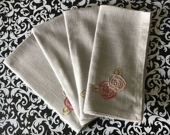 Four Hand Embroidered Cloth Napkins with Vintage Rose Design