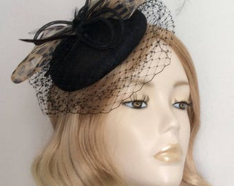 BLACK and LEOPARD PRINT Fascinator , Sinamay Button,with Crin ,feathers ,on a small headband