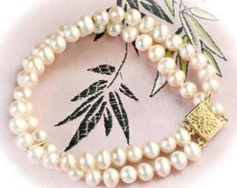 Elegant 14K Yellow Gold 5-5.5mm Double Strand Cultured Pearl 7 inch Bracelet