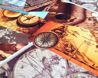 Travel & Map Print Upholstery Fabric, Nautical Sailor Home Decor Durable Fabric, Curtain Pillow Fabric, 1/2 Yard/Metre Fat Quarter, Apy-005