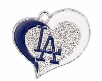 Los Angeles Dodgers Baseball Heart Charms