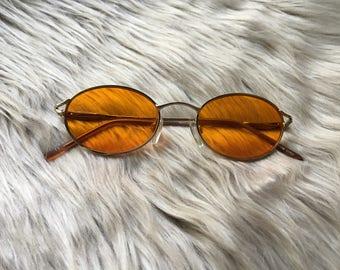 Orange Vintage Style Sunglasses / Orange Sunglasses / Orange Lenses